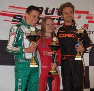 Podest Schweizer Kartmeisterschaft Lignieres mit Isabelle von Lerber